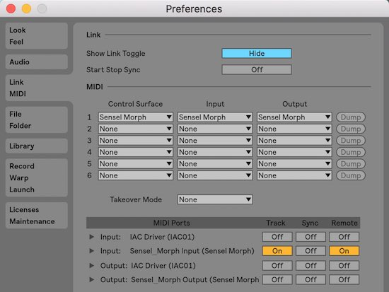 Ableton Live preferences for Control Surface Script for Morph