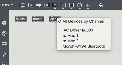 Max patch Sensel Morph Bluetooth connection