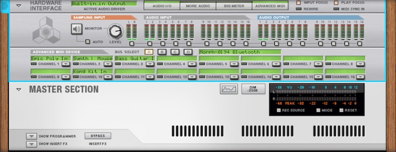 Propellerheads Reason Channel Direction for Sensel Morph Bluetooth connection