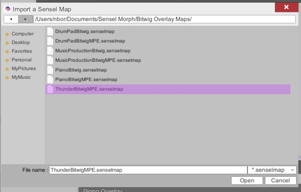 Use file browser to import maps into SenselApp