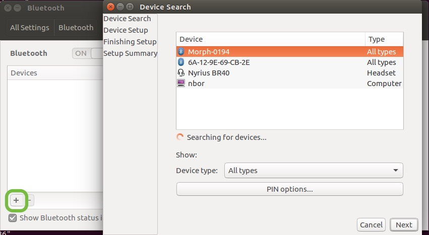Ubuntu Bluetooth Settings panel